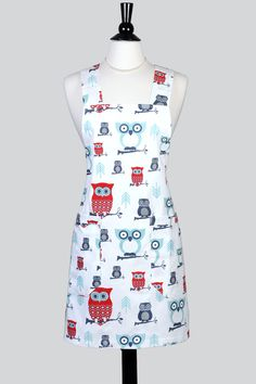 Canvas Japanese Cross Back Apron - Whimsical Red and Aqua Perched Owls - Womens Crossover Pinafore Kitchen Apron with Pockets by TastyAprons on Etsy