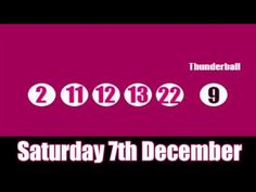 The #Thunderball results for Saturday 7th December, watch it on YouTube - Good Luck! www.youtube.com/watch?v=0iteDL3Soic