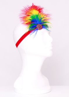 Paradise Parrot Stretchy Feather Headband - Scarlett Macaw Bird Costume Accessory -
