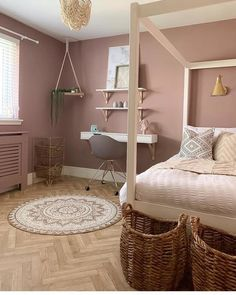 Our Equator Cottage Parquet Vinyl Flooring comes with a thermal backing layer for additional underfoot comfort and warmth 😄 📸: mrs_macs_home Order your free samples today 📦 Dusty Pink Bedroom, Pink Bedroom Walls, Bedroom Wall Colors, Bedroom Color Schemes, Pink Room, Room Ideas Bedroom, Home Bedroom, Bedroom Decor, Light Pink Bedrooms