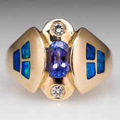 Opal Tanzanite and Diamonds Ring