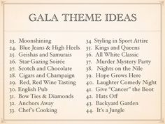 Gala Fundraising Theme Ideas for 2017 What is going to be popular for fundraising gala themes for 2017? Here are some great choices for the new year. 1. Runway Fashion Show– Fashion i…
