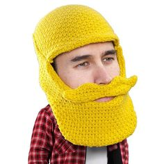 - Knit balaclava style face mask with beard - Comes in a variety of colors! - Detachable mustache for perfect placement - One size fits (mostly) all - 70% acrylic, 30% wool The Classic Beard Head has
