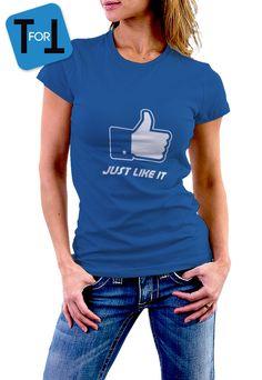 best cheap ff6d9 27894 Articles similaires à Facebook Just LIKE it T-shirt Bleu pour les  inconditionnels de FB - Tshirt femme • 037 sur Etsy