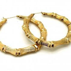 Classic bamboo style hoop earrings that never goes out of style, crafted in yellow gold Bangles, Bracelets, Gold Earrings, Bamboo, Jewelry, Style, Gold Stud Earrings, Jewellery Making, Gold Pendants