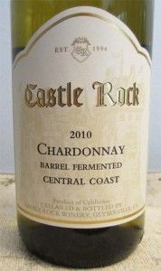 2010 Castle Rock Chardonnay - an elegant central coast California wine with a rich fruity character and just a subtle hint of oak. It is the perfect accompaniment to light summer dishes of fish, poultry and pork. It can be purchased for a very reasonable $8.99 a bottle.