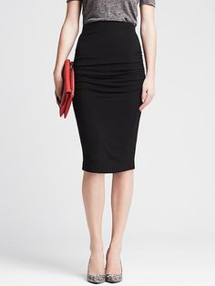 Banana Republic Womens Ruched Black Jersey Pencil Skirt Size M Petite - Br black by: Banana Republic @Banana Republic (US)