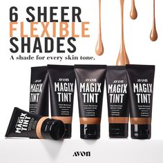 A shade for everyone.No filter. Just Magix. This illuminating tinted moisturizer brightens your skin and blurs imperfections for an instantly better-than-bare look. Enhance skin tone without hiding it and show off a naturally radiant complexion. Rimmel, New Skin, Your Skin, Sheer Shades, Avon Representative, Tinted Moisturizer, It Goes On, Medium, Just For You