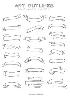 Set of Banners & Scrolls - Art Outlines Full Page 23 Original Hand Drawn…
