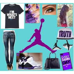 Purple Jordans/Nike outfit
