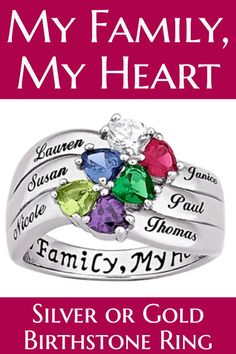 birthstone ring love this gorgeous my family my heart ring engraved with - What Should I Buy My Mom For Christmas