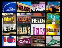 Personalized Poster featuring the name HELEN showcased in sign photos