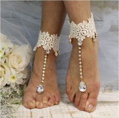 "HARLOW barefoot sandals wedding, foot jewelry, beach wedding, bridal ""PIN this pretty for later!'"