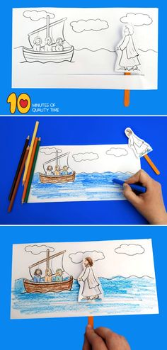 Jesus Walks on Water Craft Toddler Bible Lessons, Kids Church Lessons, Preschool Bible Lessons, Bible Activities For Kids, Bible Crafts For Kids, Kids Bible, Primary Lessons, Sunday School Crafts For Kids, Bible School Crafts