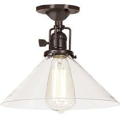 Glass Cone Shade Industrial Ceiling Light