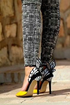 Yellow butterfly heels #shoes @Jenniferw
