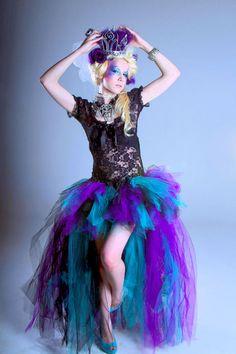 Teal Purple Black Mardi GrasTrashy Formal Bustle TuTu Adult All Sizes MTCoffinz