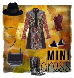 """""""Mini dress"""" by sbbalcius on Polyvore featuring Mary Katrantzou, Aquazzura, Gucci, Mark & Graham, The Row, neutrals and minidress"""