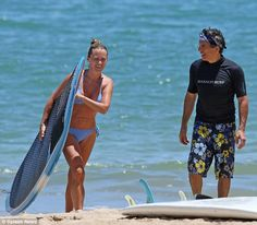 Aloha: Ben Stiller and his wife Christine Taylor took to the beach in Hawaii on Sunday Christine Taylor, Ben Stiller, Hawaii Surf, Old Actress, Sexy Bikini, Cute Couples, Bikinis, Swimwear, Surfing
