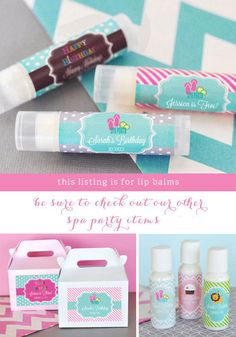 Kids Spa Party Favors will be a hit with these personalized spa party theme lip balm favors! Perfect for a girls spa theme birthday party - these lip