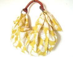 NEW- fabric furoshiki bag with leather handle-ginkgo print Furoshiki Bag, Origami Bag, Japanese Fabric, Rust Color, Leather Handle, Leather Craft, Fabric Design, Purses, Sewing