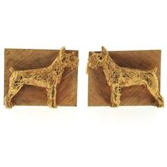 Mid Century Schnauzer Dog Large Gold Cufflinks