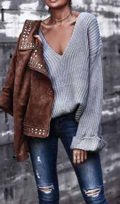 how to wear a grey sweater : brown moto jacket + ripped jeans