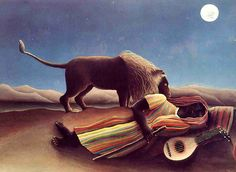 Henri Rousseau The Sleeping Gypsy, oil on canvas, cm × cm, Museum of Modern Art, NY. The Sleeping Gypsy is a painting by French Naïve artist Henri Rousseau. The fantastical depiction. Art And Illustration, Illustrations, Henri Rousseau Paintings, Art Conceptual, Post Impressionism, Great Paintings, Popular Paintings, Oil Painting Reproductions, Canvas Prints