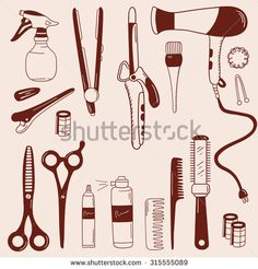 Barber and barbershop hand drawn icon set. Doodle hairdressing tools vector collection. Barber shop, hairdressing supplies. Sketch objects professional accessories