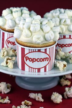 "popcorn cupcakes...love this idea for a ""movie screening"" birthday party"