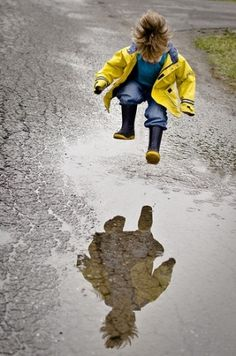 """I was taking a walk with my husband. There was this puddle in front of me and I'm thinking :""""I always wanted to know how it feels to jump... And at the same time my hubby says: """"Don't even think about it.""""  Kind of scary how this man knows me."""