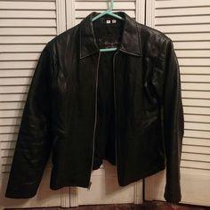 Leather jacket. Black med in good condition henig furs  Jackets & Coats