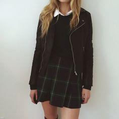 {Plaid skirt and leather jacket}