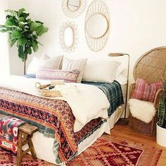 Incridible Bohemian Style Bedroom Design and Decoration Ideas - Boho Bedroom Decor Home, Home Bedroom, Room Inspiration, House Interior, Bedroom Inspirations, Apartment Decor, Bedroom Decor, Bohemian Style Bedrooms, New Room