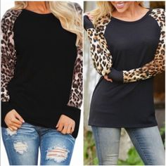 Knit long sleeve tops Knit top with animal print long sleeves. 64%polyester 33%rayon. Please do not purchase this listing. Comment with size and I will create a new listing for you. Small (2/4) Price is firm unless bundled. Tops