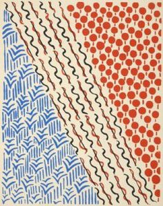 In the world of textile design in 1930′s Sonia Delauney reigned. An abstract painter, textile and stage designer, her work inspired designers and painters to come….I personally like the patterns and enjoy this period of design.