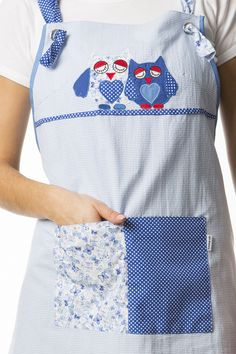 € 28.00 Estola Búhos Patchwork Bib Apron, Aprons, Adult Bibs, Diana, Patches, Pumps, Sewing, Fashion, Teacher Apron