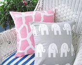 Pillows Baby Nursery Pillows Decorative Pillows Throw Pillow Cushion Pink Giraffe