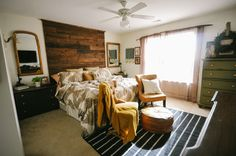 Bedroom - wood wall/headboard. via apartment therapy