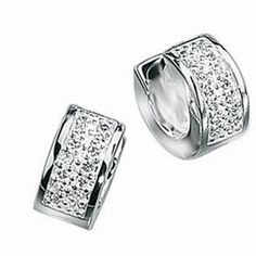 Men's Single Huggie Design Silver and Cubic Zirconia Stud Earring -Gift Boxed…