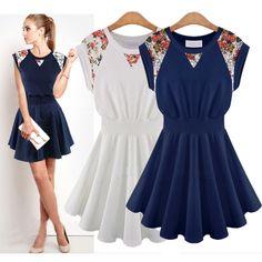 D8868 New 2014 Summer Fashion Women's Dress Free Shipping European American Sleeveless Slim Lace Floral Print Dress Girl Dresses $16.61