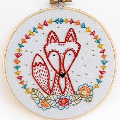 "The fox says, ""hi! I'm the newest embroidery kit."" Crafty Fox is next in line. Coming soon! Thanks to everyone who voted for their favorite. More new additions rolling out over the next few months. #cozyblue #embroiderykits #craftyfox"