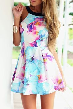 Fancy Floral Print Halter Mini Dress.