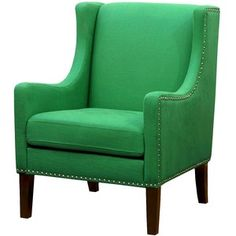 Skyline Accent Chair: Upholstered Chair: Jackson Upholstered Wingback Chair - Linen Island Green