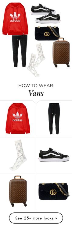 """""""Untitled #485"""" by liloham on Polyvore featuring Balmain, adidas Originals, Vans, Gucci and Louis Vuitton"""
