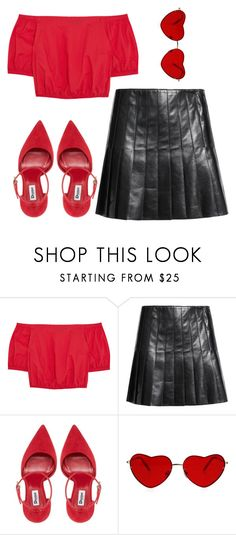 """""""lady"""" by whoisophelia ❤ liked on Polyvore featuring Madewell, Belstaff, red and tumblr"""