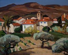 Red Roofs, Cassis, 1924 by John Maclauchlan Milne (1886-1957)