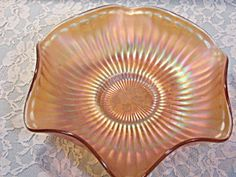 Vintage Westmoreland Glass Smooth Rays Carnival Glass Bowl