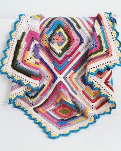 Crochet solid granny squares scrapghan, awesome border edging.