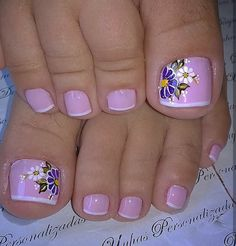 Toenail Art Designs, Pedicure Designs, Pedicure Nail Art, Nail Polish Designs, Manicure, Pretty Pedicures, Pretty Toe Nails, Cute Toe Nails, Toe Nail Color